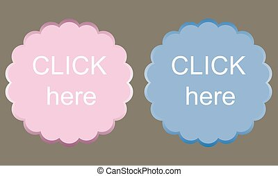 Clean vector color set of click