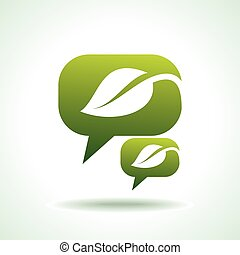 Web elements, chat bubbles with leaves, vector