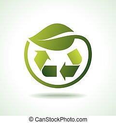illustration of recycle symbol with leaf icon