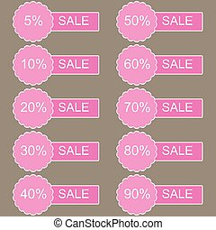 Discount labels Vector - Discount labels Sales set in red...