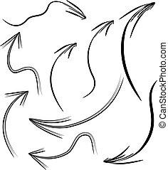 sketch drawing arrow design set in black color