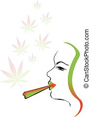 marijuana smoking woman illustration with cannabis leaf