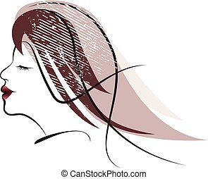 Woman Hair style Silhouette with textures