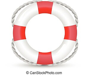 lifebelt, lifebuoy isolated on white red and white
