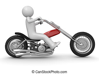 Biker riding chopper - 3d characters isolated on white...