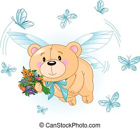 Flying Blue Teddy Bear - Very cute Teddy Bear with flowers...