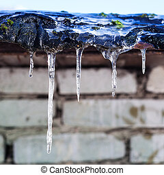icicles on roof of shed with brick wall in sunny winter day