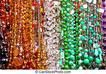 Bead necklaces - Long row of colorful fashionable bead...