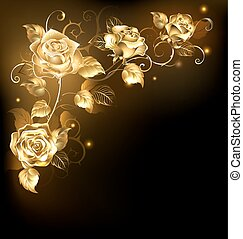 Gold rose on dark background - Twisted gold roses on a black...