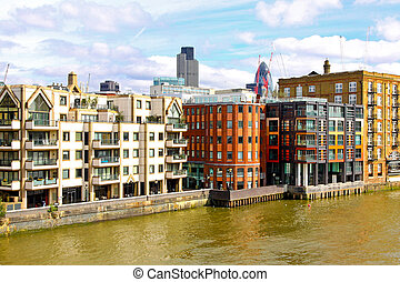 By The Thames - Modern residential buildings on Thames river...