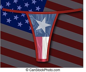Silk Texas Thong - A thong with the Texan flag all over a...