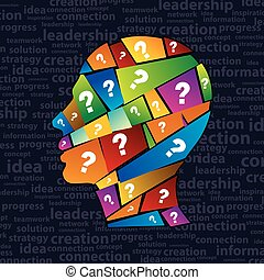 Man s head with many question