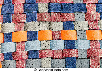 background from flat braided leather tapes close up