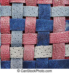 braided leather strips close up - square background from...