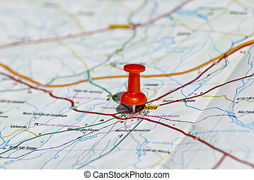 Travel destination - Red pin in a map with great colors