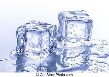 ice cubes with water drops on white background