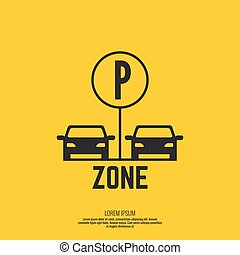 Pointer to the car parking zone Vector icon