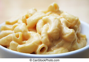 Macaroni and Cheese - Close Up of Macaroni and Cheese in a...