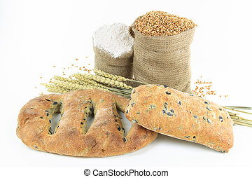 Mediterranean  Black olive breads and products.
