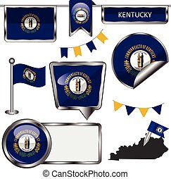 Glossy icons with flag of state Kentucky