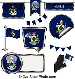 Glossy icons with flag of state Maine - Vector glossy icons...