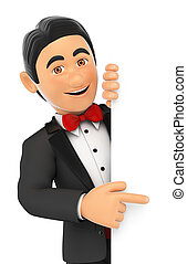 3D Tuxedo man pointing aside. Blank space - 3d bow tie...