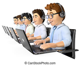 3D Men working in a call center - 3d working people. Men...