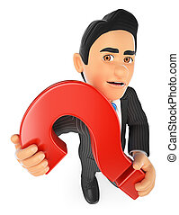 3D Businessman with a huge question mark
