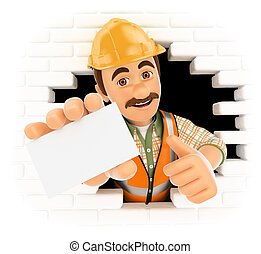 3D Worker coming out a wall hole with a blank card - 3d...