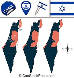 Map of Israel with named districts - Vector map of Israel...