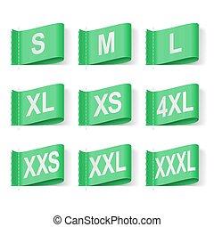 Clothing Labels - Set of Clothing Size Labels, White Text on...