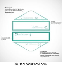 Infographic template with hexagon shape divided to four...
