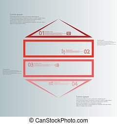 Infographic template with hexagon shape divided to four red...