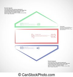 Infographic template with hexagon shape divided to three...