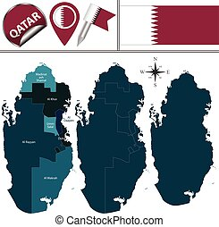 Map of Qatar with named municipalities - Vector map of Qatar...