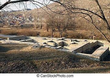 Ruins of public bath, old Orhei, Moldova