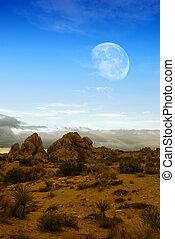 Moon over desert - Moon rising over desert landscape in...