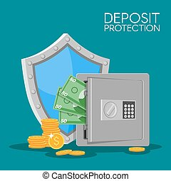 Bank deposit vector illustration flat style. Save your money concept. Dollar banknotes and coins in safe.