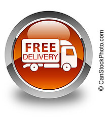 Free delivery truck icon glossy brown round button