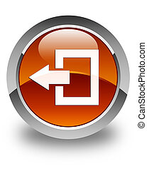 Logout icon glossy brown round button