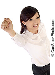 Raising hand up business woman of Asian with smile...