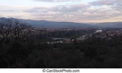 Evening Florence Top View (Italy). - Evening Florence City...