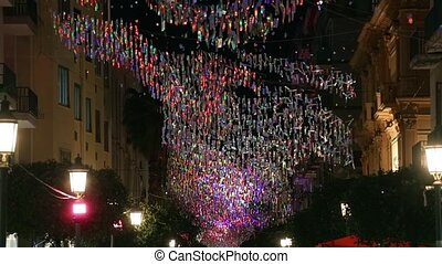 Christmas Night City Italy - Christmas decoration on the...