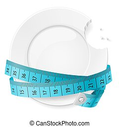 Diet Concept - Bitten Plate with Blue Measuring Tape on...