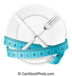 Diet Concept - Plate with Blue Measuring Tape and Crossed...