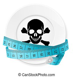 Diet Concept - Plate with Blue Measuring Tape and Skull with...