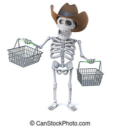 3d Cowboy skeleton goes shopping - 3d render of a skeleton...