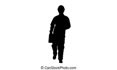 Silhouette Funky and successful engineer, manager or...