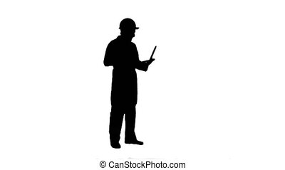 Silhouette Construction engineer Videoconferencing With...