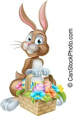 Easter Bunny Rabbit with Eggs Hamper Basket - Cartoon Easter...